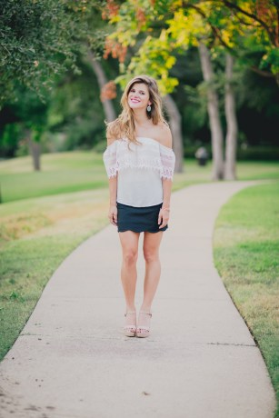 white over the shoulder top, black scallop skirt summer night time date outfit