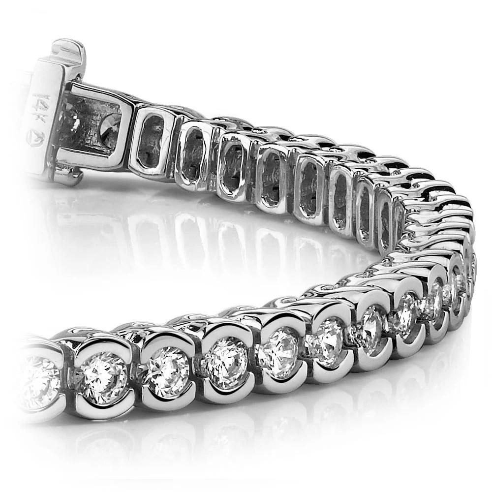 Half Bezel Diamond Bracelet In White Gold 3 Ctw