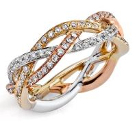 Braided Tri-Tone Gold Diamond Eternity Ring by Parade