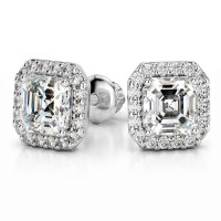 Halo Asscher Diamond Earring Settings in Platinum
