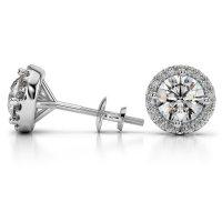 Halo Diamond Earring Settings in Platinum