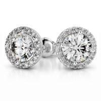 Halo Diamond Earring Settings in White Gold
