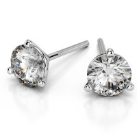 Martini Three Prong Earring Settings in Platinum