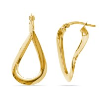 Teardrop Hoop Earrings in Yellow Gold
