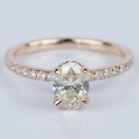 Oval Engagement Ring with Hidden Diamond Halo in Rose Gold