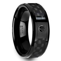 Black Ceramic Carbon Fiber Men's Ring with Black Diamond