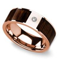 Black Walnut Wood Inlay Men's Wedding Ring with Diamond in ...