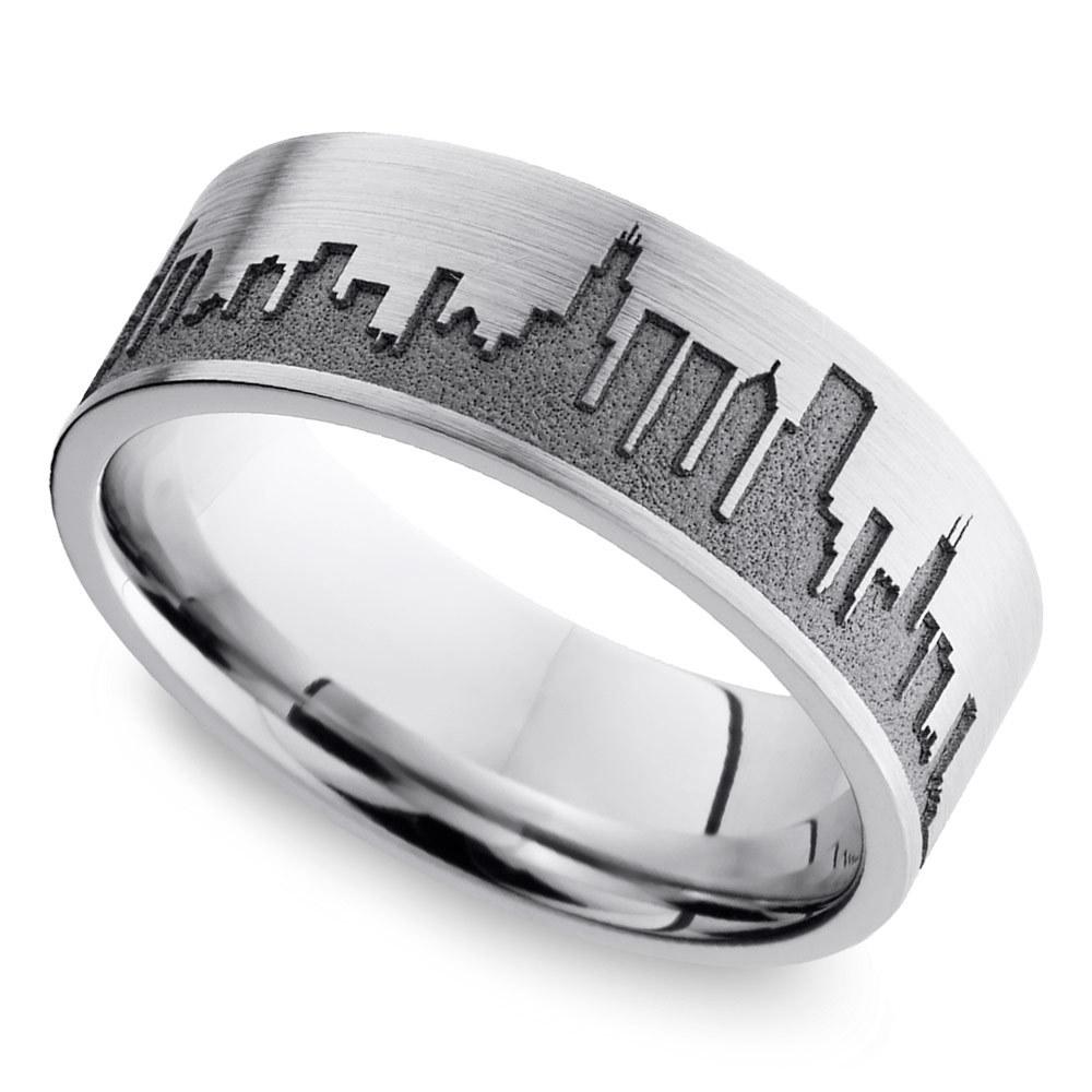 chicago skyline mens band cobalt cobalt wedding rings