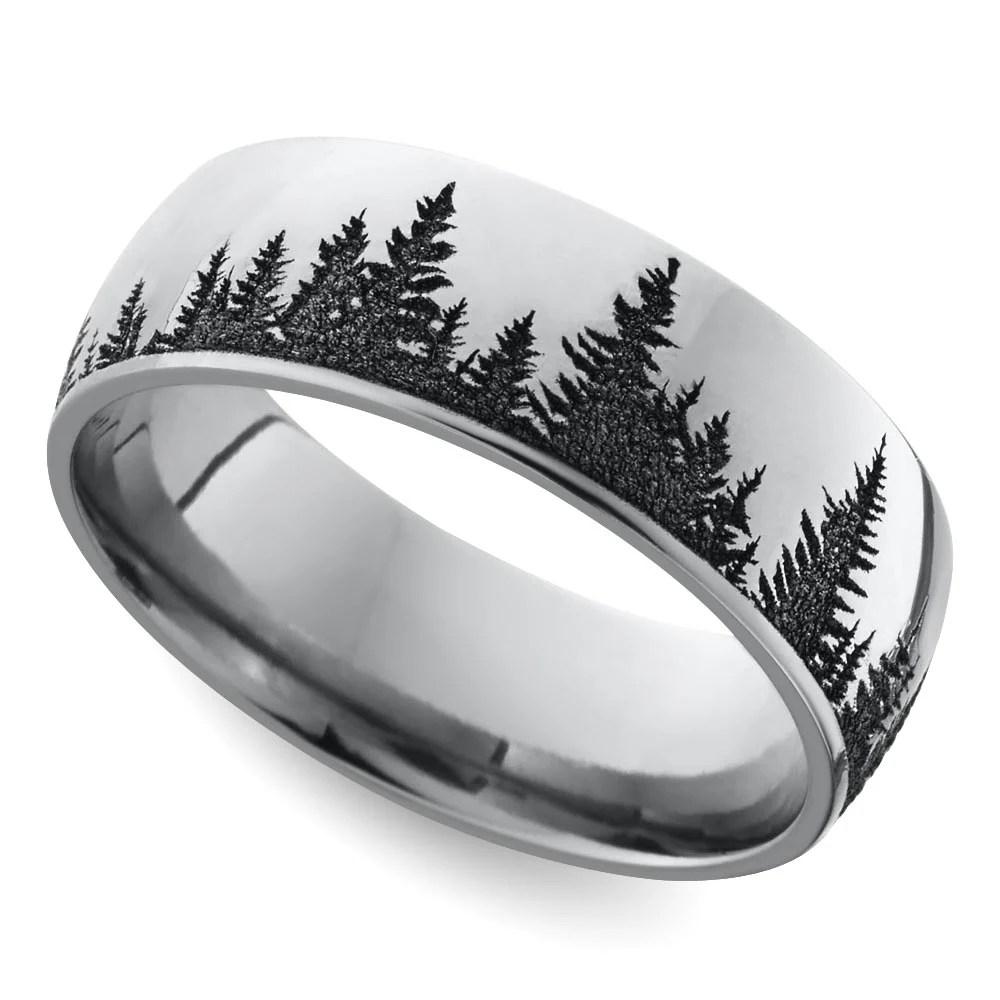 laser carved forest pattern mens band 7 mm cobalt wedding ring mens