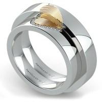 Matching Heart Fingerprint Inlay Wedding Ring Set in ...