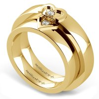 Matching Split Heart Diamond Wedding Ring Set in Yellow Gold