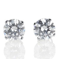 1 1/2 CT Natural Real Round Diamond Stud Earrings D/VS2 ...