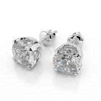 1 Carat Diamond Stud Earrings Round Cut D/VS2 14K White Gold