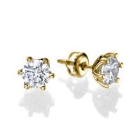 1 1 2 Carat Solitaire Diamond Stud Earrings Round CUT D ...
