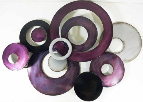 Metal Wall Art Purple Linked Circle Disc Abstract