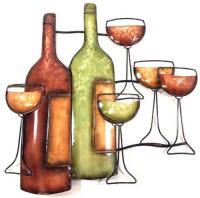 Metal Wall Art - Wine Bottle Scene