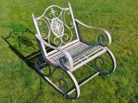 Antique Grey Metal Rocking Chair