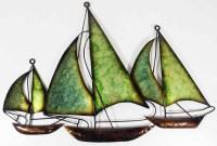 Metal Wall Art - Green Blue Fleet Of Boats
