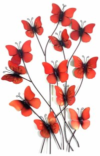 Metal Wall Art - Summer Fire Red Butterflies