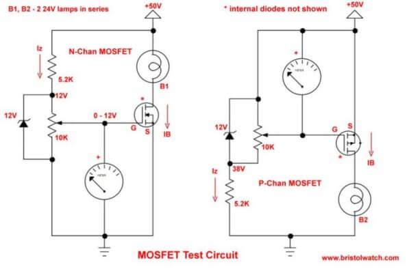 Basic MOSFET Transistor Test Circuits - mos transistor