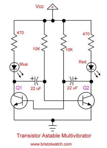Simple 2 Transistor LED Flasher Circuit