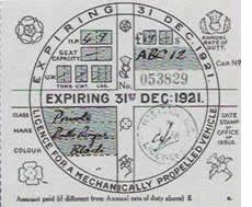 British Car Tax Disc from 1921