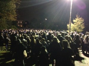 Revellers try to go home by the Water Lane exit - it took some more than 30 minutes to leave the park. Picture Tim Dickens
