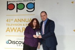 Sally Wainwright picked up the Writer's Award for BBC One's Last Tango In Halifax and Happy Valley. With Gideon Spanier.
