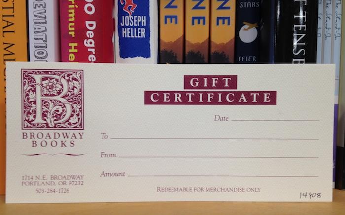 Gift Certificate Broadway Books