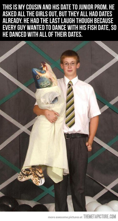 picture of a guy who took a fish to prom