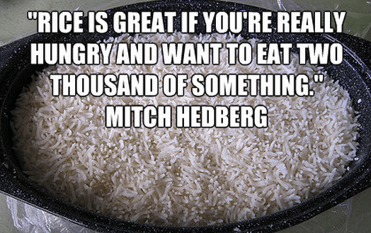 """Rice is great if you're really hungry and want to eat two thousand of something."""