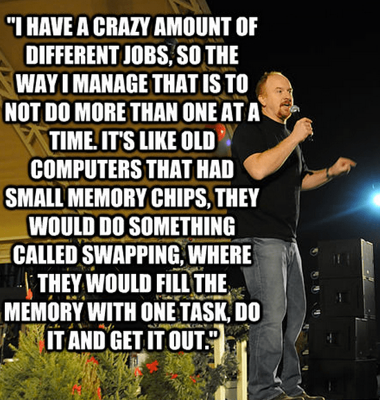 """""""I have a crazy amount of different jobs, so the way I manage that is to not do more than one at a time. It's like old computers that had small memory chips, they would do something called swapping, where they would fill the memory with one task, do it and get it out."""""""
