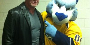 The Undertaker with the Predators mascot because why not