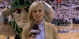 Sparty wonderfully photobombs Samantha Ponder