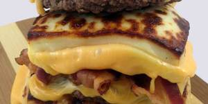 Bread cheese bacon double cheeseburger will make your mouth water and your heart stop