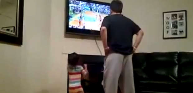 girl imitates dad
