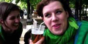 Girl drinks beer through her ear