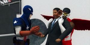 Captain America and The Falcon fight Obama in 'Captain America 2′