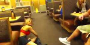 Hot girl twerks at IHOP, gets crushed at it by a dude