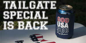 Buy three, get one free on sweet beer koozies