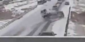 Reckless drivers on icy road cause world's dumbest 25 car pileup ever caught on video