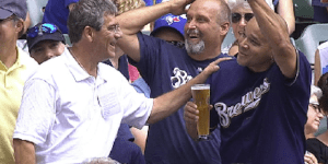 Brewers broadcasters buys drink for guy who dropped beer going for foul ball
