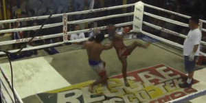 Kickboxing match turns into hardcore match after one fighter introduces weapons