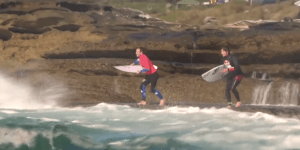 Surfer Tries To Jump In The Water At Cape Fear—Massive Wave Has Other Plans For Him
