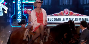 Bill Murray Wears Dress, Rides A Horse With Murray-achi Band, Does Shots Of Tequila On Jimmy Kimmel