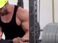Dude Doing Squats Struggles, That's When Spotter Jumps In For Hilarious Thug Life Moment