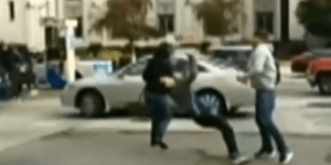Moment Attacker Stabs Woman, But Boyfriend Defends Her By KO'ing Man In One Nasty Punch