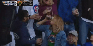 Female Cubs Fan Catches Foul Ball In Her Cup Of Beer, Then Chugs It