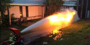 A Flamethrower Fights A Fire Hose And Who. You. Got?