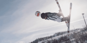 You Need To Watch This INCREDIBLE Game Of Soccer Played While People Are Skiing Down A Slope